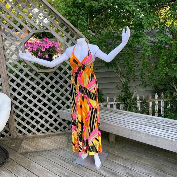 Dresses & Skirts - Vibrant neon halter maxi dress